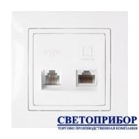 ТРК-001 Розетка комбинированная (телефонная + компьютерная) (полимерный суппорт)