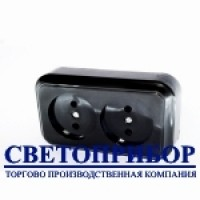 РА16-060ч Розетка двухместная