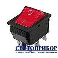Кнопка широкая красная 6 контактов