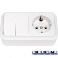 2В-РЦ-529 Выключатель двухклавишный + розетка с заземлением