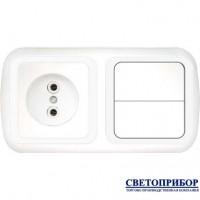 2В-РЦ-535 Блок электроустановочный (розетка + двухклавишный выключатель)