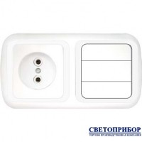 3В-РЦ-537 Блок электроустановочный (розетка + трехклавишный выключатель)