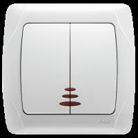 Выключатель двойной с подсветкой Белый Carmen