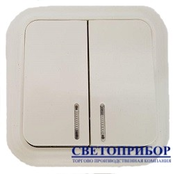 А5-012 выключатель с подсветкой 2 клавишный (D06)