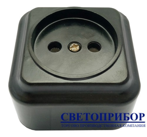 РА10-ФК Розетка карболитовая на керамике черная