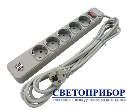 """Сет. фильтр 5гн 1,8 м USB """"СВЕТОПРИБОР"""" 0518"""