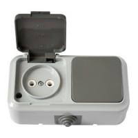 В-РЦ-653(03) Выключатель одноклавишный + розетка брызгозащищенный
