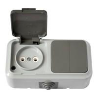 2В-РЦ-655(03) Выключатель двухклавишный + розетка брызгозащищенный