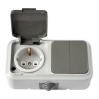 2В-РЦ-659(03) Выключатель двухклавишный + розетка с заземлением брызгозащищенный